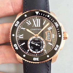 JF厂【卡地亚W7100052】一比一高仿卡地亚Cartier 卡历博潜水系列W7100052 男表胶带 18K玫瑰金 全自动机械男士手表价格_多少钱_报价-实名表业高仿手表商城