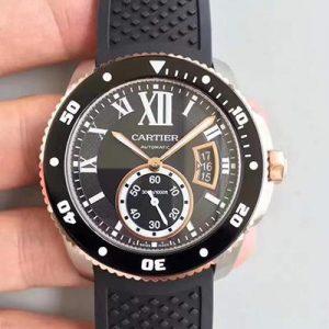 JF厂【卡地亚W7100055】一比一高仿卡地亚Cartier 卡历博潜水系列W7100055 男表胶带 18K玫瑰金 全自动机械男士手表价格_多少钱_报价-实名表业高仿手表商城