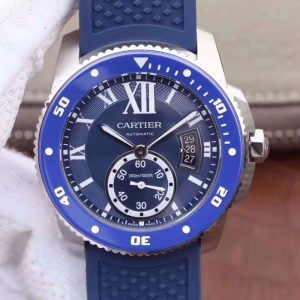 JF厂卡地亚Cartier 卡历博系列WSCA0011 蓝盘 潜水男表 全自动机械男表价格_多少钱_报价-实名表业高仿手表商城